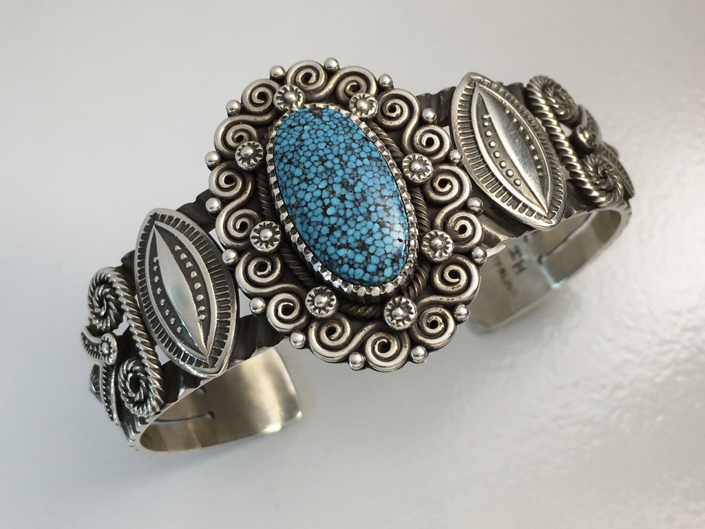 Spiderweb Kingman Turquoise and Silver Bracelet, by Ivan Howard