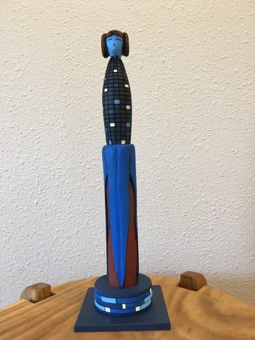 Blue Corn Maiden Zuni Sculpture, by Gregg Lasiloo, at Raven Makes Gallery, Sisters, Oregon