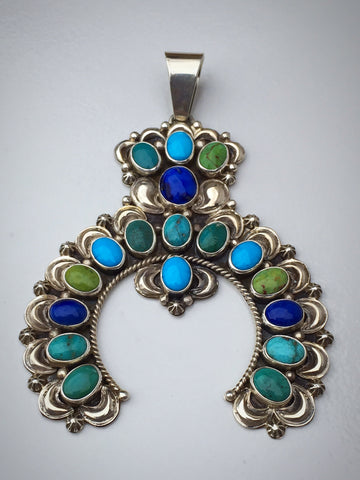 Turquoise and Lapis Naja Pendant, by Dee Nez