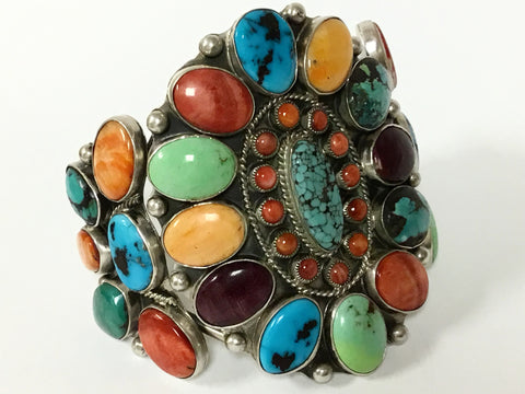 Multi-Stone and Turquoise Cluster Cuff Bracelet, by David Lister