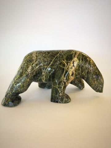 Marbled Green Serpentine Bear Carving, by Asunaa Kilabuk