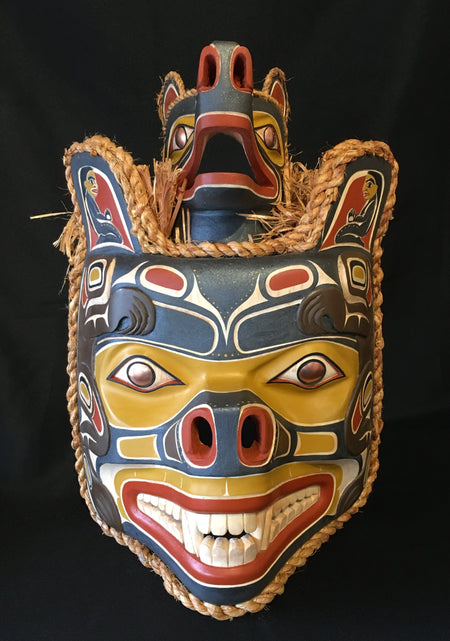 Alder Bear Mother Mask, by Randy Stiglitz, at Raven Makes Gallery in Sisters