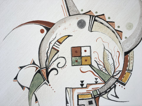 World in Motion, Hopi Painting, by Donna Humetewa Kaye (Pesavensi) at Raven Makes Gallery