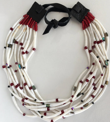 Dentalium and Abalone Choker Necklace, by Leah Mata