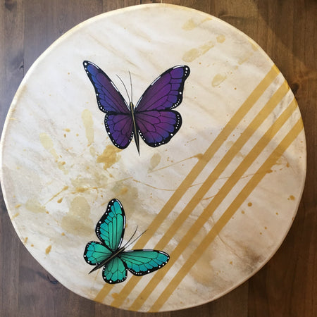 Zuni Butterflies Deerhide Drum, by Elroy Natachu, Jr.