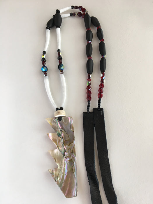 Basket Design Black Pine Nut and Red Abalone Necklace, by Leah Mata