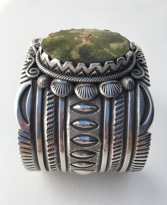 Pilot Mountain Turquoise and Sterling Bracelet, by Erick Begay