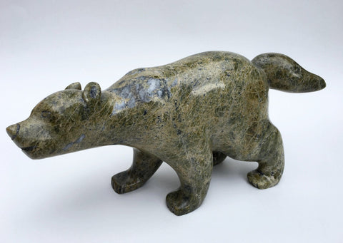 Inuit Serpentine Wolf Sculpture, by Timothy Ezekiel