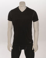 USA409-Loose Fit V-Neck Short Sleeve-Black