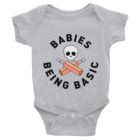 Babies Being Basic Signature Bodysuit (White and Gray)