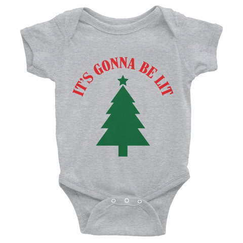 """It's Gonna Be Lit"" Christmas Tree Onesie"