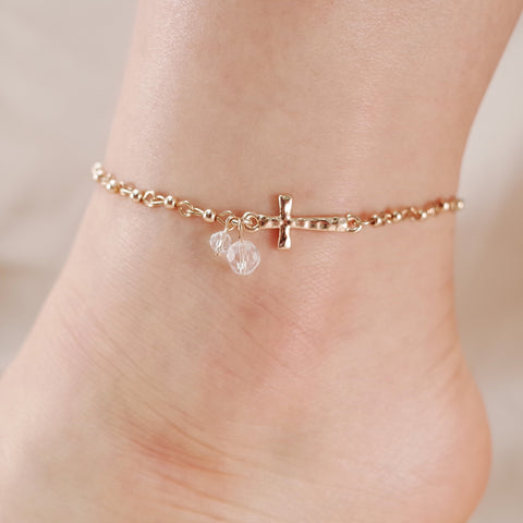 Cross Charm Chain Link Anklet