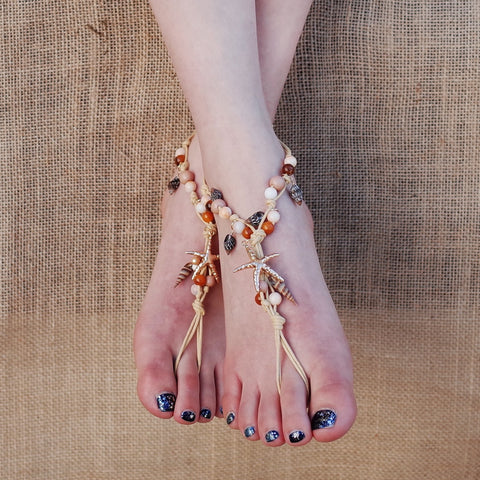 Starfish and Shell Barefoot Sandals Anklet