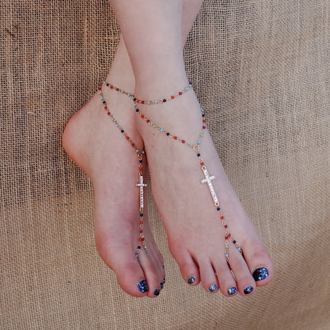 Cross Charm Bead Link Barefoot Sandals Anklet