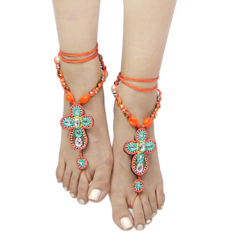 Bohemian Style Cross Shape Seed Bead Barefoot Sandals Anklet
