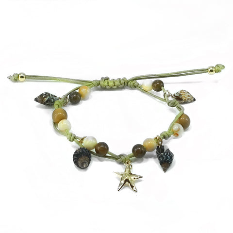 Starfish and Shell Beach Theme Adjustable Anklet