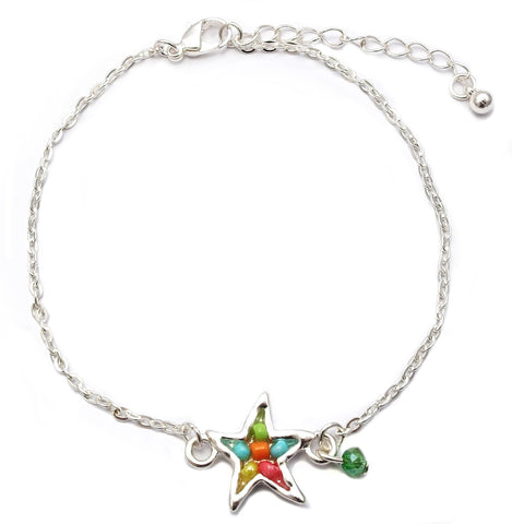 Starfish Seed Bead Chain Link Anklet