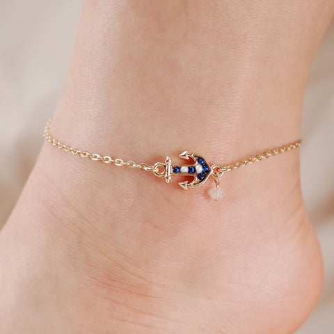 Anchor Seed Bead Chain Link Anklet