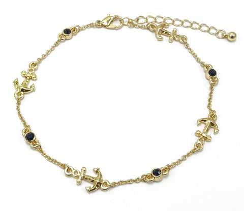 Anchor and Montana/Crystal Stone (Reversible) Chain Link Anklet