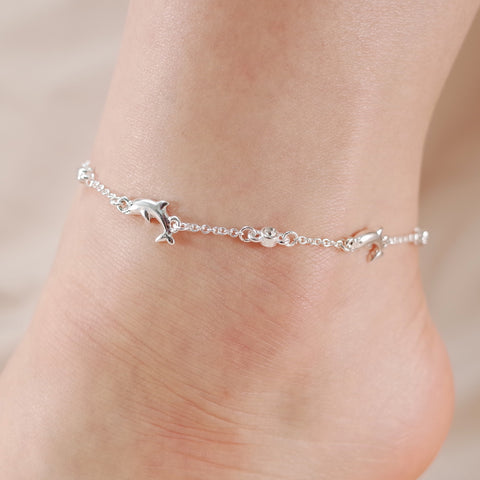 Dolphin and Crystal Stone Chain Link Anklet