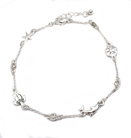 Sealife and Crystal Stone Chain Link Anklet