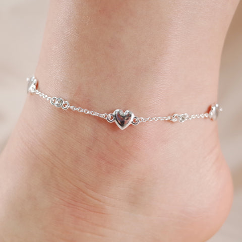 Heart and Crystal Stone Chain Link Anklet