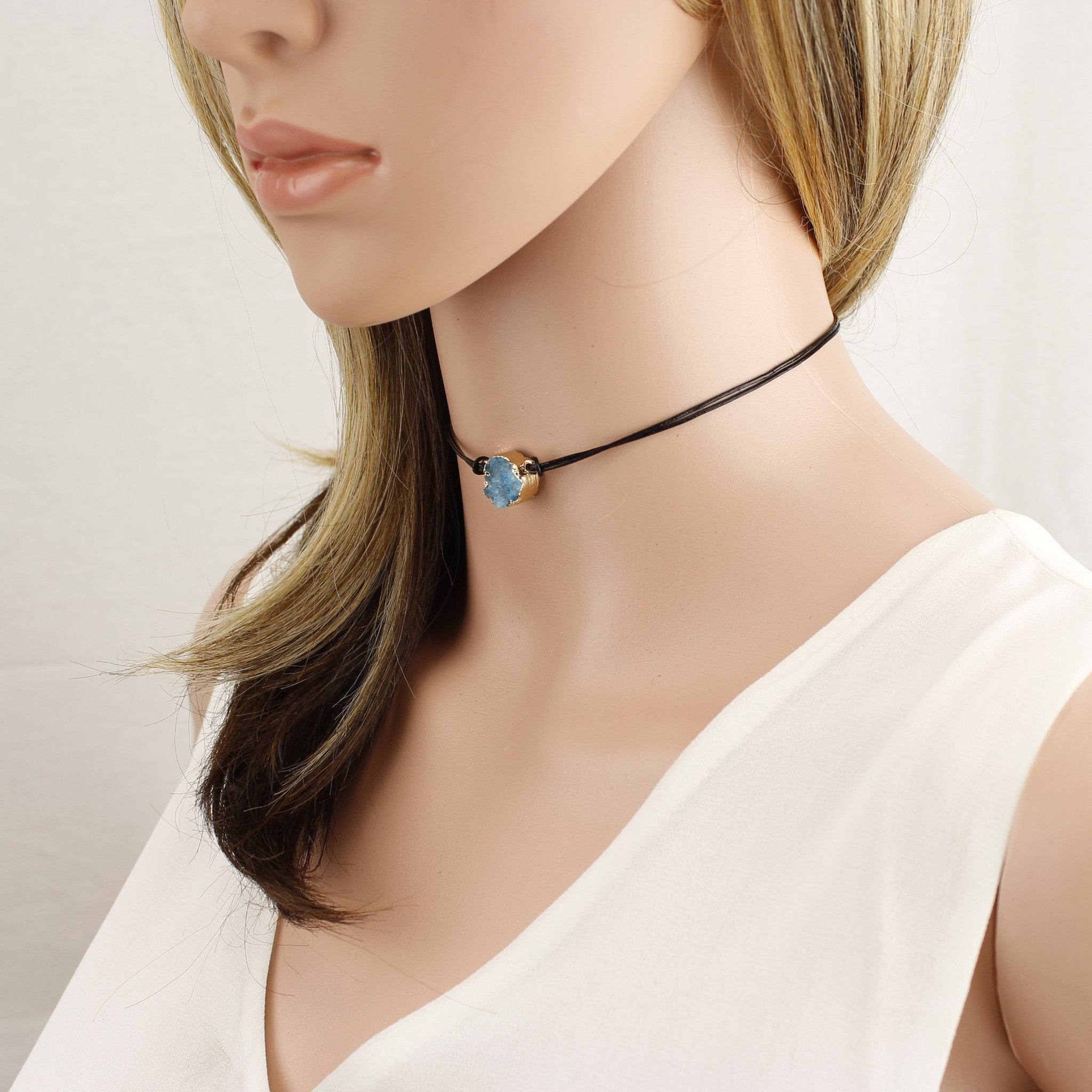 Druzy Charm Leather Cord Choker Necklace 12 inch