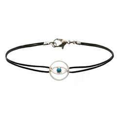 Evil Eye Charm Leather Cord Choker Necklace 12 inch ?€?