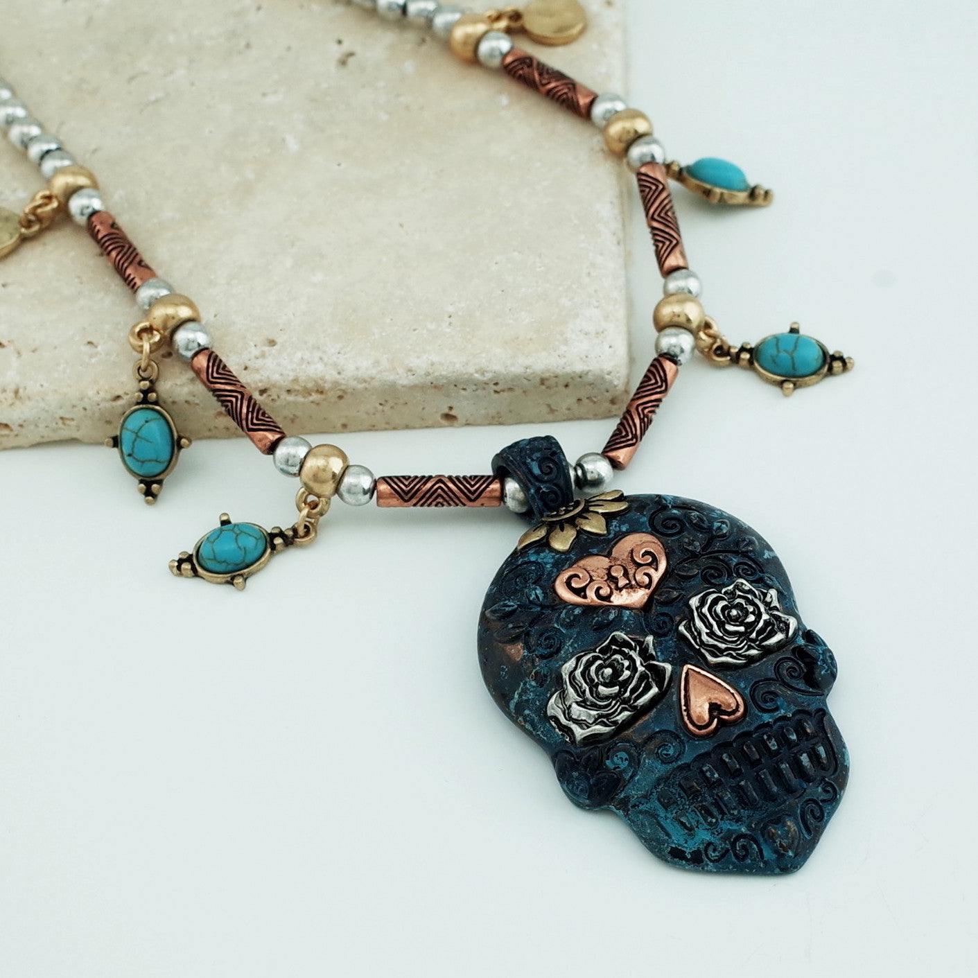 muertos dia sugar de skull los necklace products cameo pendant