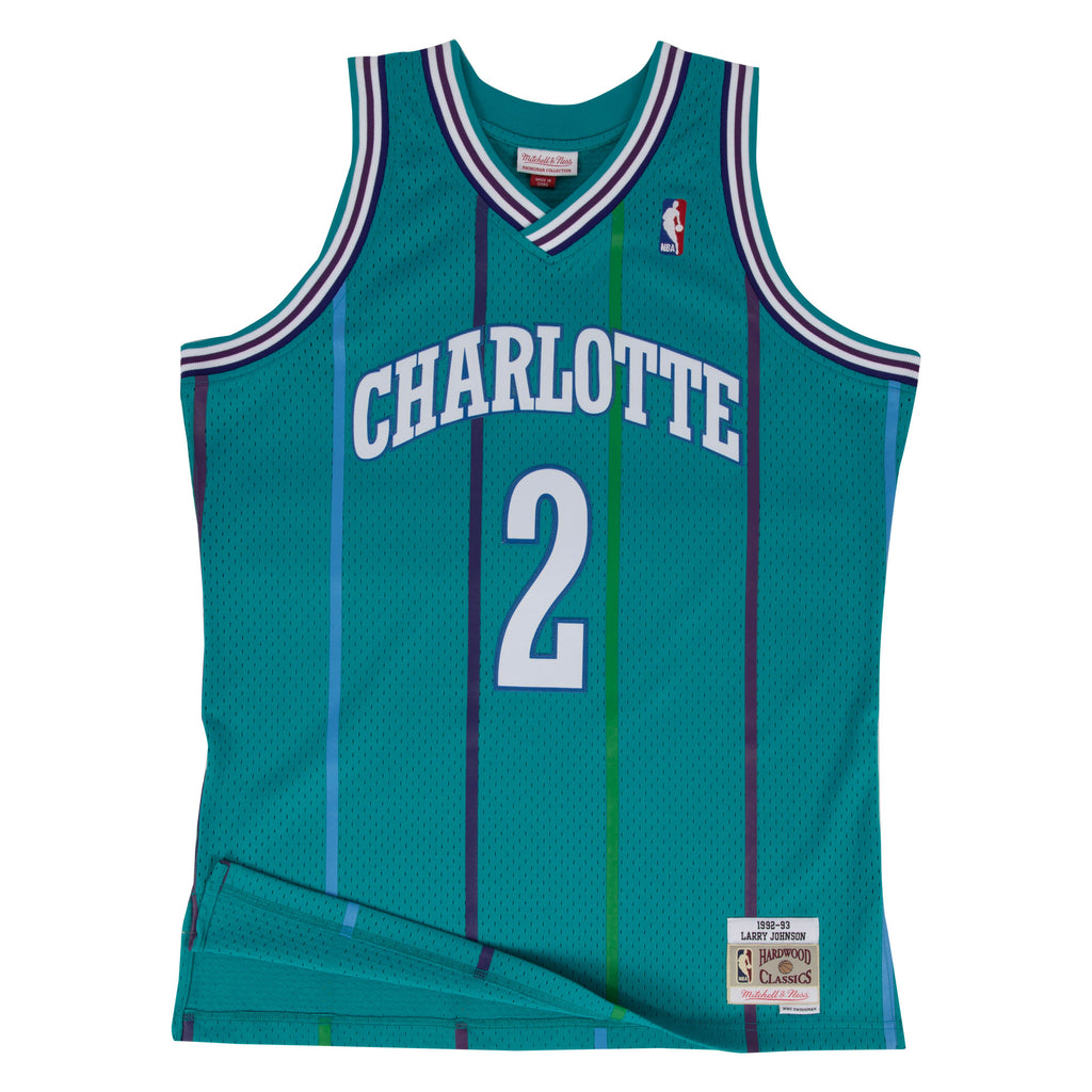 NBA Charlotte Hornets Larry Johnson Mitchell & Ness Retro Swingman Jersey - Teal