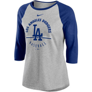MLB Los Angeles Dodgers Women's Nike Encircled 3/4 Triblend Tee - Gray/Blue - Just Sports