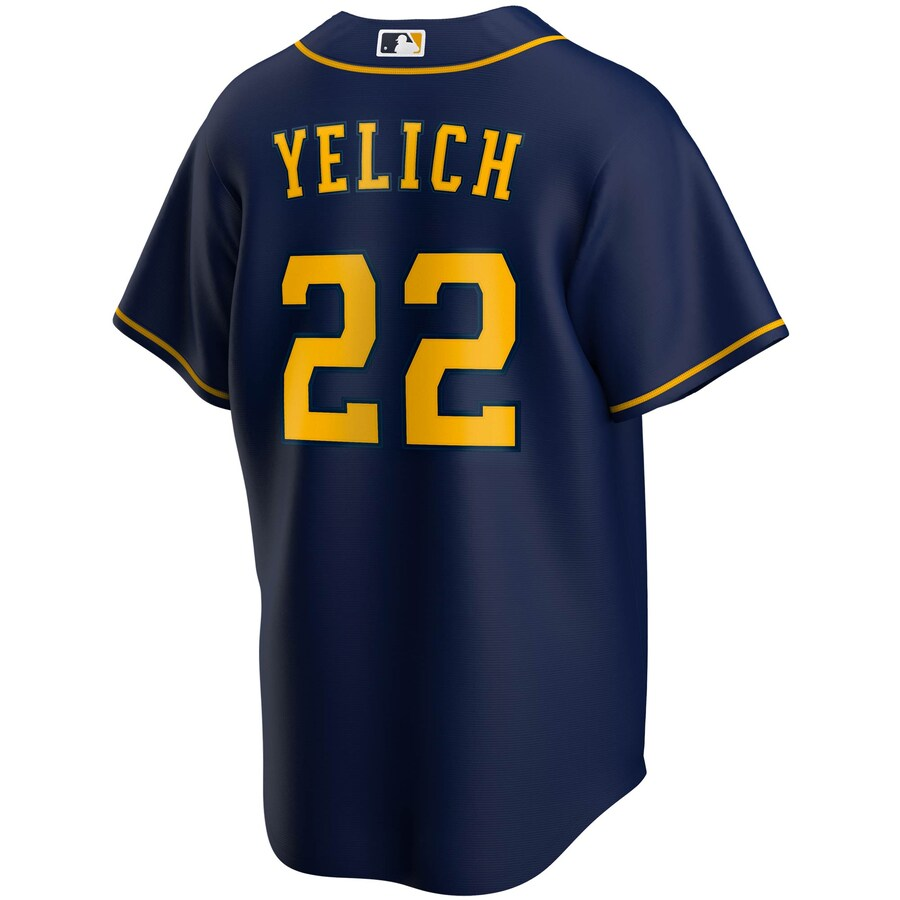MLB Milwaukee Brewers Christian Yelich Nike Official Home Replica Jersey - Navy