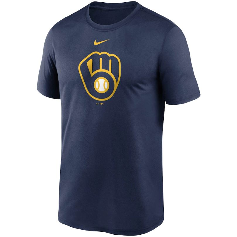 MLB Milwaukee Brewers Nike Large Logo Legend Tee - Navy