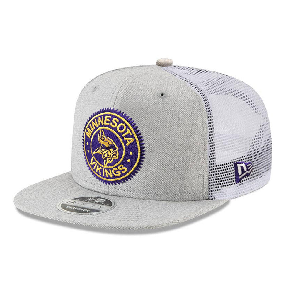 NFL Minnesota Vikings New Era Circle Patch Trucker 9FIFTY - Heather