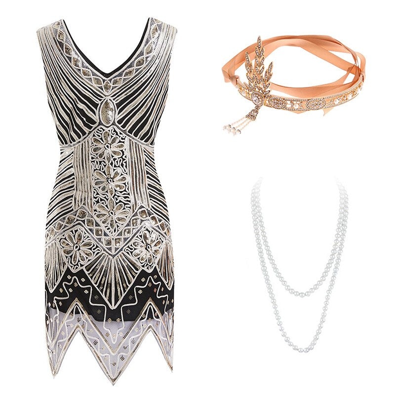 Classy Womens Beads Sequin 1920s Fringed Flapper Dress Roaring 20s Party Dress