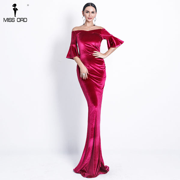 Missord 2019 Women Sexy Off Shoulder Speaker Sleeve Female Dresses Velvet Solid Color  Bodycon Elegant Maxi Party Dress FT9080