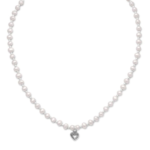 13+2 Extension Cultured Freshwater Pearl/silver Bead Necklace With Oxidized Heart Jewelry