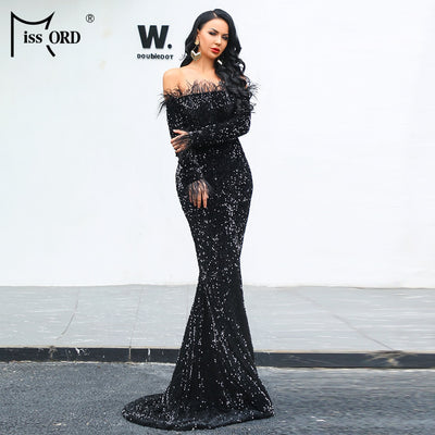 ac0ccd2ff4c6 Missord 2019 Sexy Off Shoulder Feather LongSleeve Sequin floor length  Evening party Maxi Reflective prom Dress