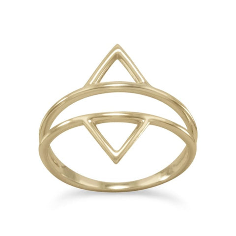 14 Karat Gold Plated Double Triangle Ring Jewelry