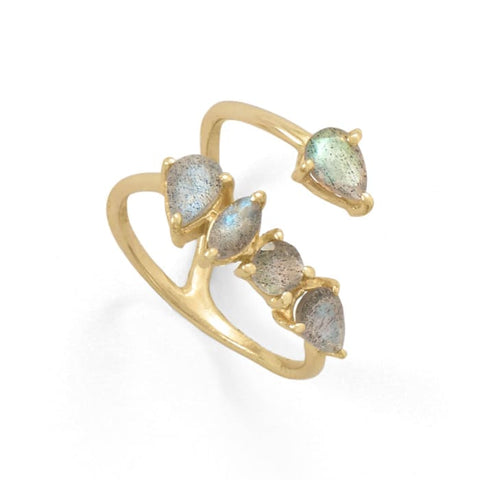14 Karat Gold Plated Labradorite Unique Wrap Ring Jewelry