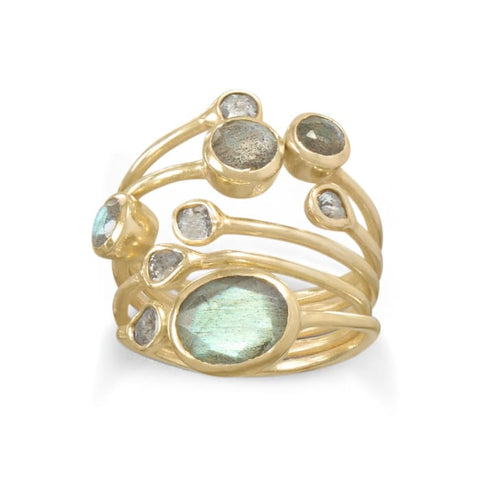 14 Karat Gold Plated Polki Diamond And Labradorite Multi-Row Stacked Ring Jewelry