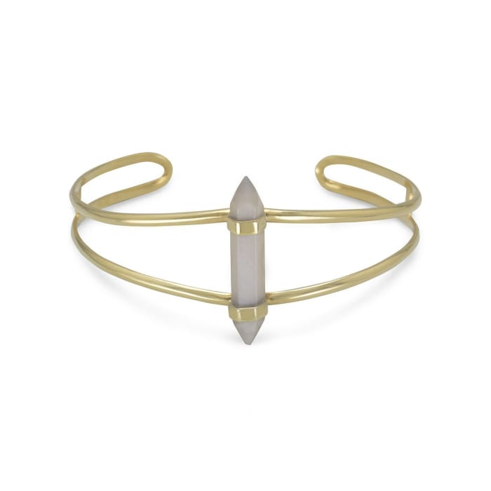 14 Karat Gold Plated Split Cuff With Spike Pencil Cut Gray Moonstone Jewelry