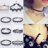 16 Style Women Crystal Tassel Multilayer Black Choker Necklace Lace Flower Choker Boho Necklace Pendant Jewelry