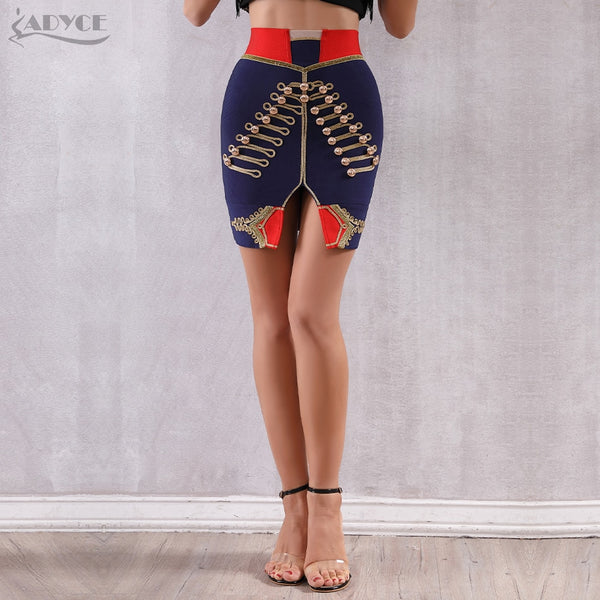 ADYCE 2019 New Summer Blue Bandage Skirt Mini Sexy Slim Tight Pencil Night Club Bodycon Evening Evening Party Skirts