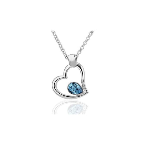 18K White Gold Overlay Hollow Hearts Necklace