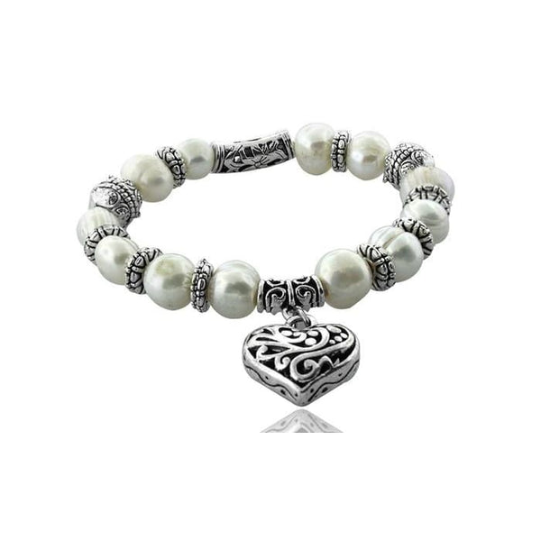 18K White Gold Plated Heart Embroidered Freshwater Pearl Bracelet
