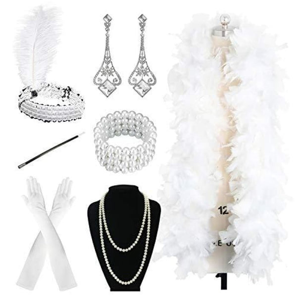 1920S Accessories Flapper Costume Women Headpiece Cigarette Necklace Gloves 5A Accessory Sets