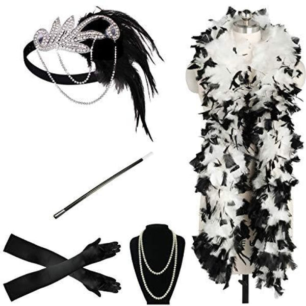 1920S Accessories Flapper Costume Women Headpiece Cigarette Necklace Gloves 6A Accessory Sets