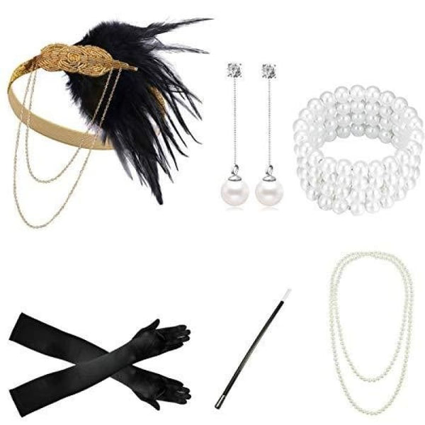 1920S Accessories Flapper Costume Women Headpiece Cigarette Necklace Gloves Accessory Sets