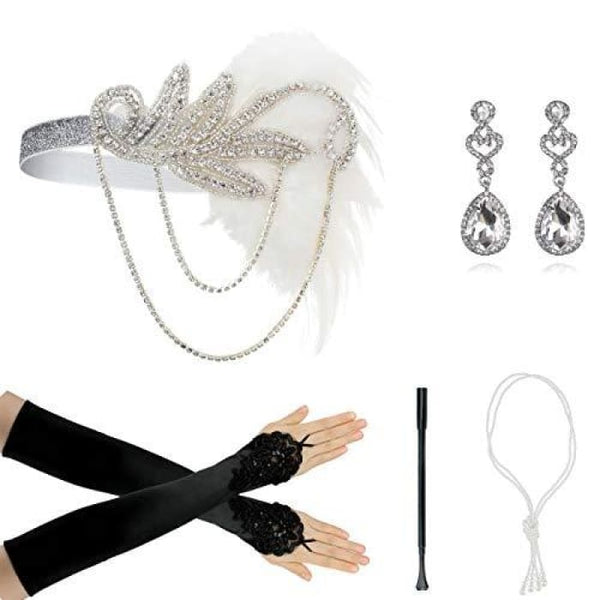 1920S Accessories Flapper Costume Women Headpiece Cigarette Necklace Gloves Ad4 Accessory Sets